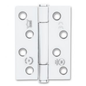 7730 Concealed Bearing Hinge - Square Corner - Staggered Hole - Mild Steel - White  102 x 76 x 3mm