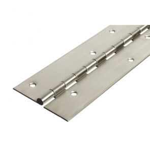 56015 Architectural Continuous Hinge - Stainless Steel - Bright Polished - Staggered Holes  2134 x 102 x 2.5 x 7mm Pin