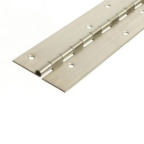 56016 Architectural Continuous Hinge - Stainless Steel - Satin Polished - Staggered Holes  2000 x 76 x 2.5 x 7mm Pin
