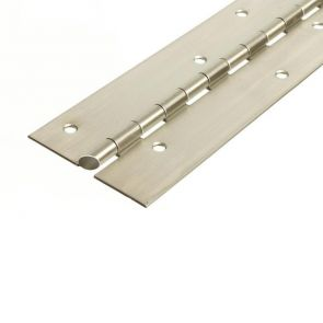 56016AL Architectural Continuous Hinge - Reduced Ligature - Stainless Steel - Satin Polished - Staggered Holes   2000 x 76 x 2.5 x 7mm Pin