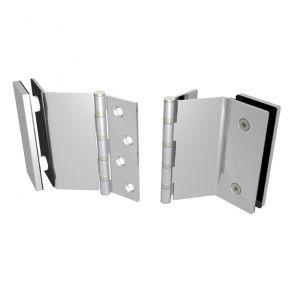 7530 Slimline Glass Door Hinge - Stainless Steel - Satin Polished  102 x 76 x 2.5mm
